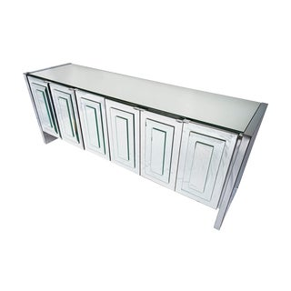 Vintage Ello Six-Door Mirrored Credenza For Sale