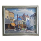 Image of Vintage Original French Street Scene Oil Painting For Sale