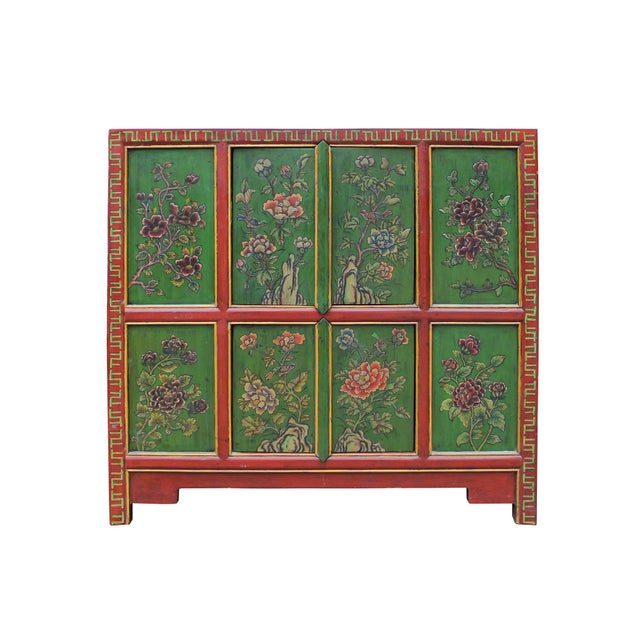 Elm Chinese Red Green Floral Graphic Credenza Storage Cabinet For Sale - Image 7 of 9