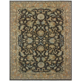 Kafkaz Sun-Faded Carl Charcoal/Lt. Brown Hand-Knotted Rug - 8'10 X 11'5