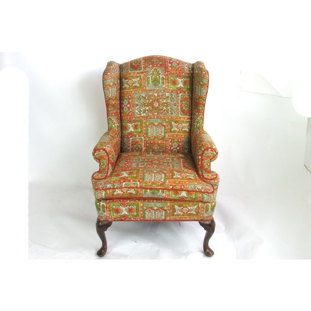 Velvet & Print Wingback Chair - Image 3 of 9