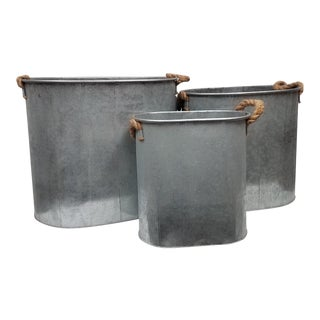 Galvanized Metal Planters or Containers With Rope Handles - Set of 3 For Sale