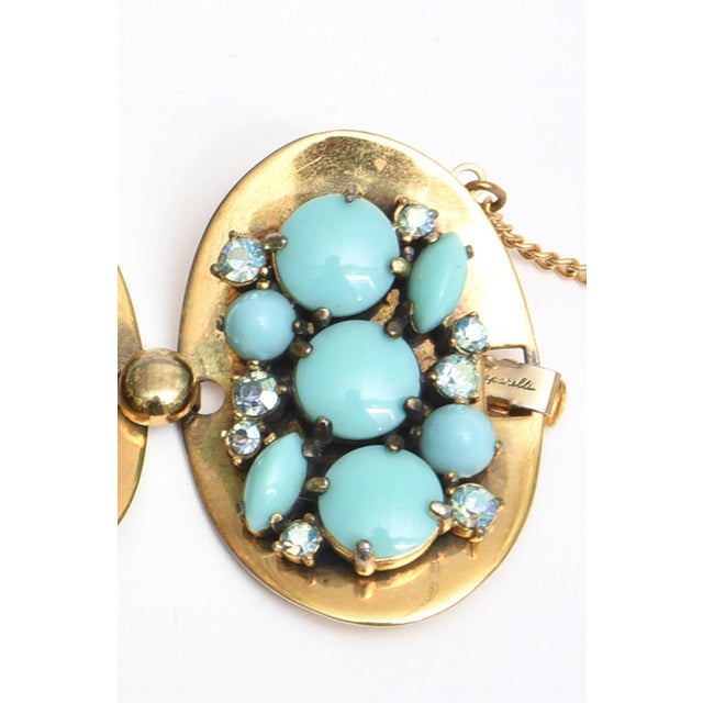 Schiaparelli 5-Disc Cluster Faux Turquoise and Rhinestone Bracelet For Sale - Image 4 of 11
