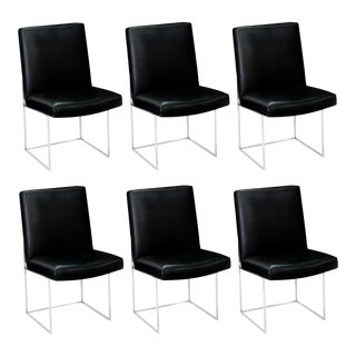 Modernist Black & Chrome Milo Baughman Dining Chairs - Set of 6 For Sale