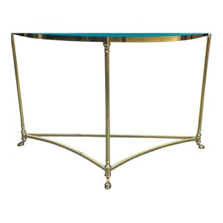 1970s Italian Brass Hoof Footed Demilune Console Table For Sale