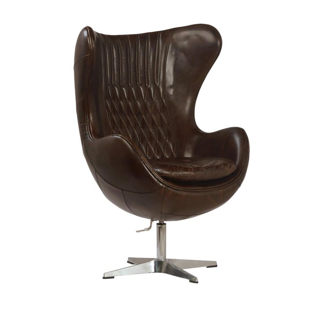 Espresso Leather Quilted Wingback Chair For Sale