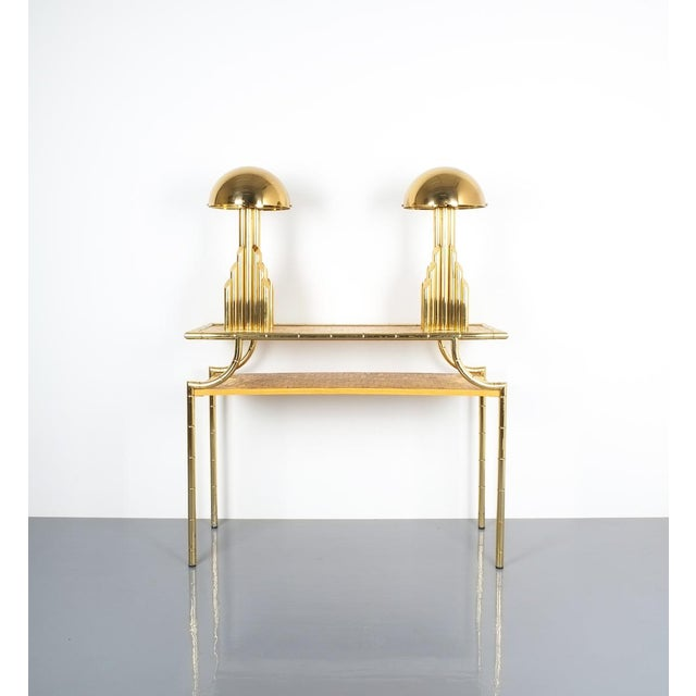 Bamboo Brass Console Table and Mirror, Italy 1950 For Sale - Image 12 of 13