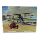 "Image of Original Best of Hubbell Aircraft Print ""Lincoln Beachy Races Barney Oldfield"" by Charles H. Hubbell, 1970 For Sale"