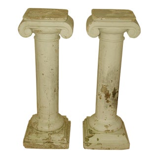 1950s Neoclassical Plaster Architectural Garden Columns - a Pair For Sale