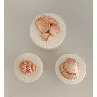 Vintage Fitz & Floyd Ceramic Sea Shell Trinket Box Set of 3 Preview