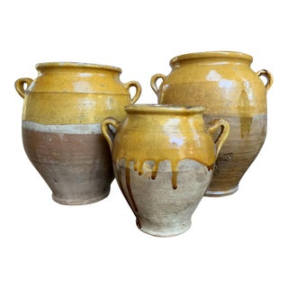 Antique 19th Century French Confit Pot Yellow Glazed Pottery Provence - Set of 3 For Sale