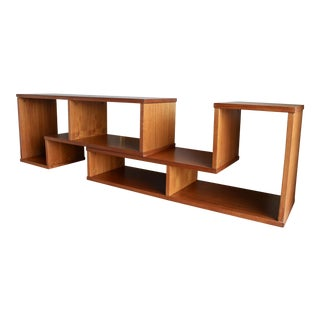 Mid Century Modern Danish Teak L-Shaped Two Piece Epanding Puzzle Shelving Unit Bookcase Credenza For Sale