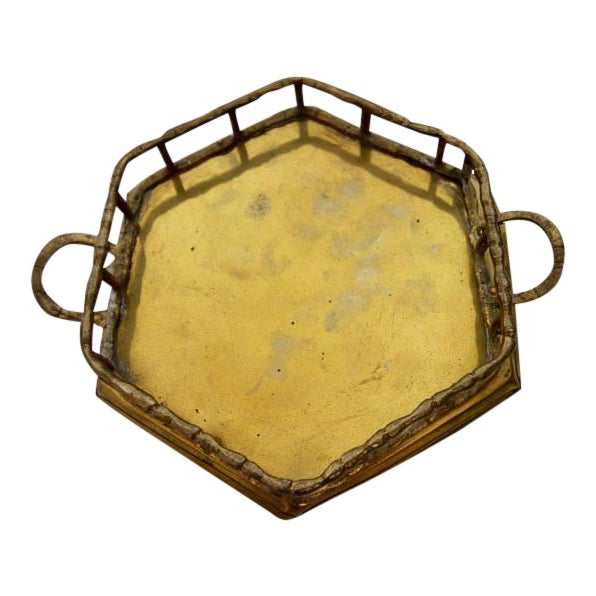 Vintage Brass Bamboo Octagon Tray - Image 1 of 4
