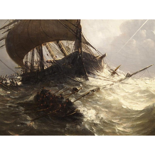 Antique Oil on Canvas Marine Painting From Normandy France, 1883 For Sale - Image 9 of 13