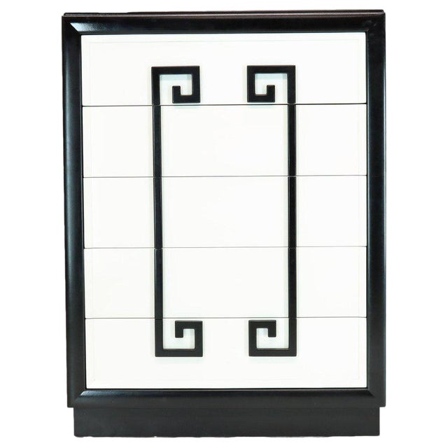 Kittinger Mandarin Style Chest Dresser Black and White Lacquer Five Drawers For Sale