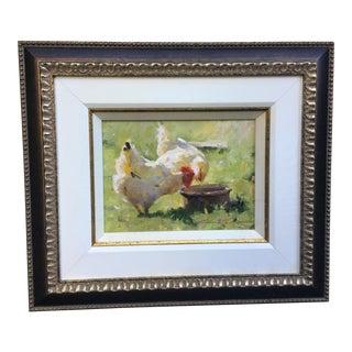 """Leonard Wren """"Spring Chickens"""" Framed For Sale"""