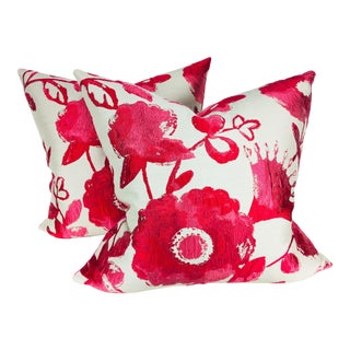 Kravitz Silk Floral Pillows - A Pair For Sale