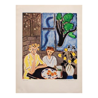 "1948 Matisse ""Two Girls and Blue Window on Gray Background"" Original Period Lithograph For Sale"