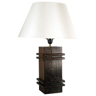 Square Pedestal Table Lamp by Jacques Adnet For Sale