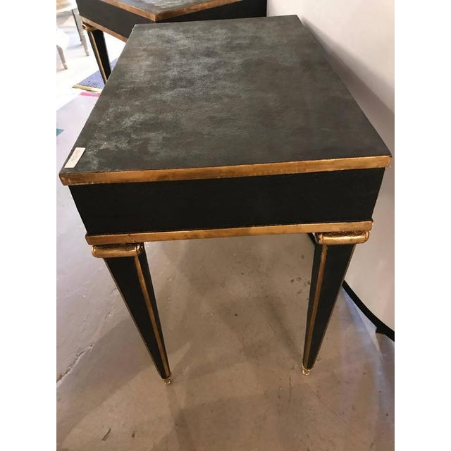 Black Maison Jansen Style End Table in Leather Top and Bronze-Mounted Legs - A Pair For Sale - Image 8 of 11