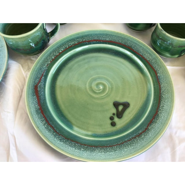 Early 21st Century Gabriel Kline Pisgah Green Hand Crafted Pottery - Set of 24 For Sale - Image 5 of 8