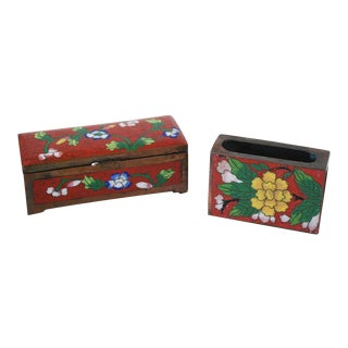 Vintage Chinese Cloisonne Desk Set, Stamp Box and Match Holder - a Pair For Sale