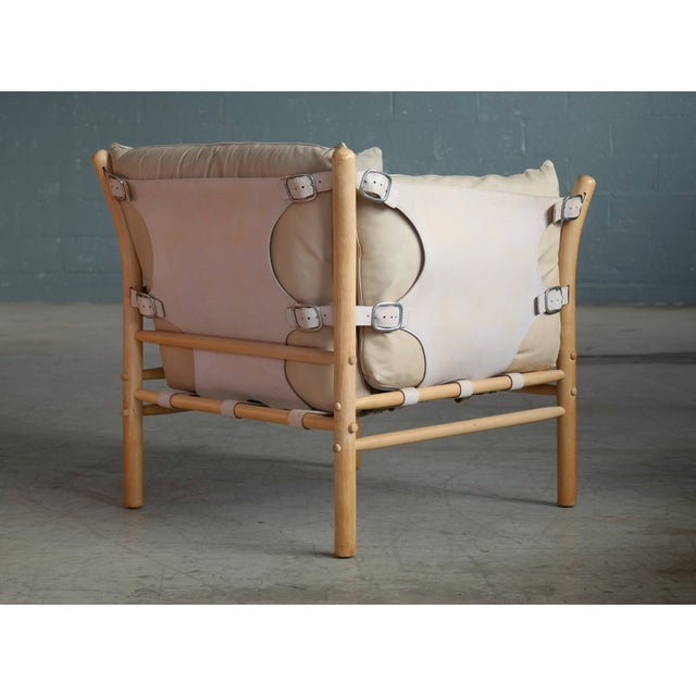 1960s Arne Norell Safari 1960s Chair Model Ilona in Cream and Tan Leather For Sale - Image 5 of 13