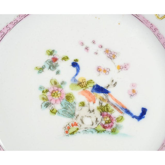 Asian Noritake Pink with Bird of Paradise Bread & Butter Plates - Set of 9 For Sale - Image 3 of 7