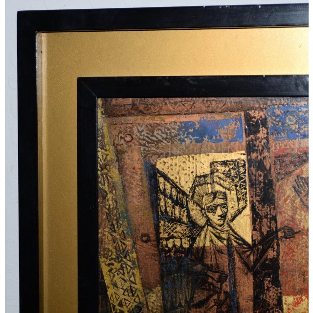 """Mid 20th Century 1956 """"Memory of the Bronze Doors of San Zeno, Italy"""" Oil Painting by Gerda With For Sale - Image 5 of 13"""