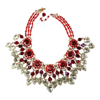 Lawrence Vrba Red Heart Statement Necklace With Dangles For Sale