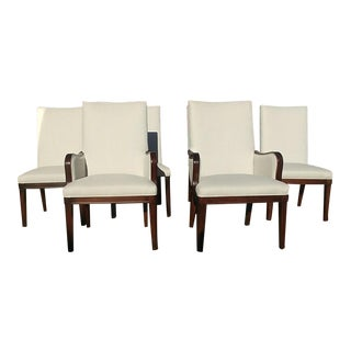 Henredon Furniture Mocha Finish Single Welt Trim Montaigne Dining Chairs- Set of 6 For Sale