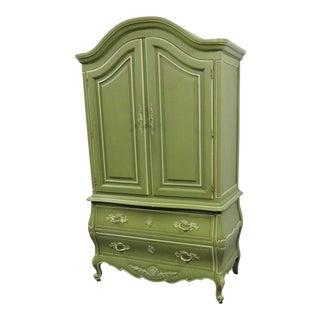 Louis XV Style Green & Cream Armoire