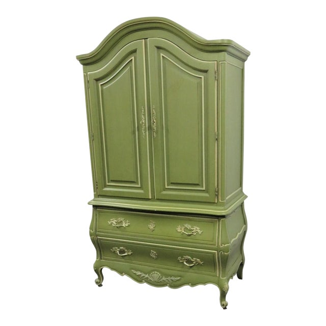 Louis XV Style Green & Cream Armoire For Sale
