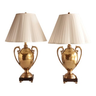 Frederick Cooper Brass Trophy Lamps, a Pair For Sale