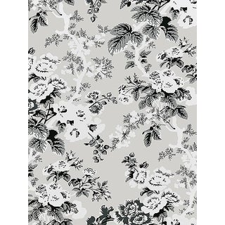 Sample, Scalamandre Ascot Floral Print, French Grey Wallpaper For Sale
