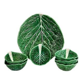 Majolica Cabbage Leaf Salad Bowl Set