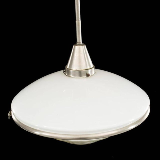 - Large Sistrah P4 pendant with opaline and clear glass designed by Otto Müller in Germany, 1931 - Fitted with one E27...