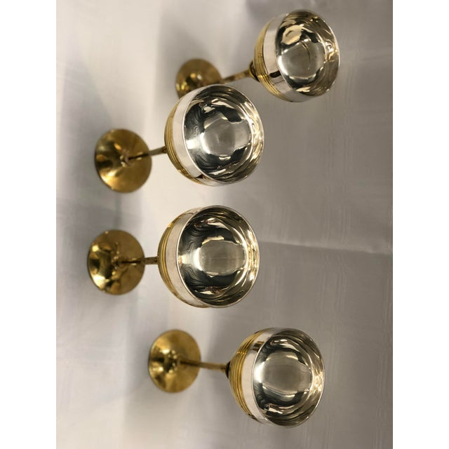 Set of Four Chrome and Brass Goblets For Sale - Image 4 of 7