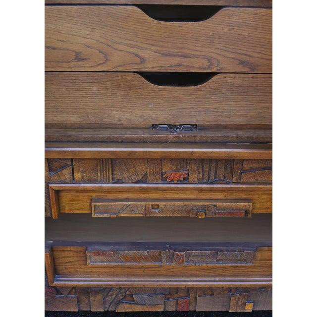 "Lane ""Pueblo"" Brutalist Armoire/Dresser - Image 7 of 10"