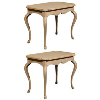 Pair of French Painted Wood Tray Top Side Tables With Cabriole Legs For Sale