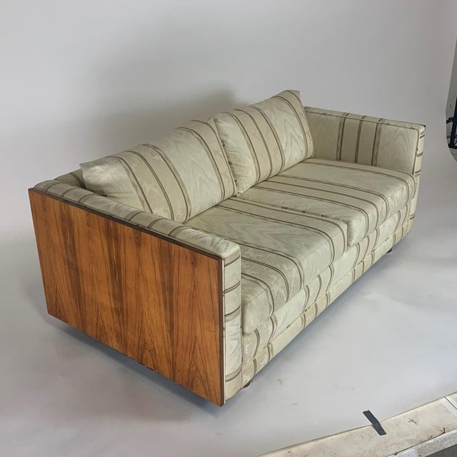 Wood Milo Baughman Floating Cased Rosewood Tuxedo Sofas / Settees - a Pair For Sale - Image 7 of 13