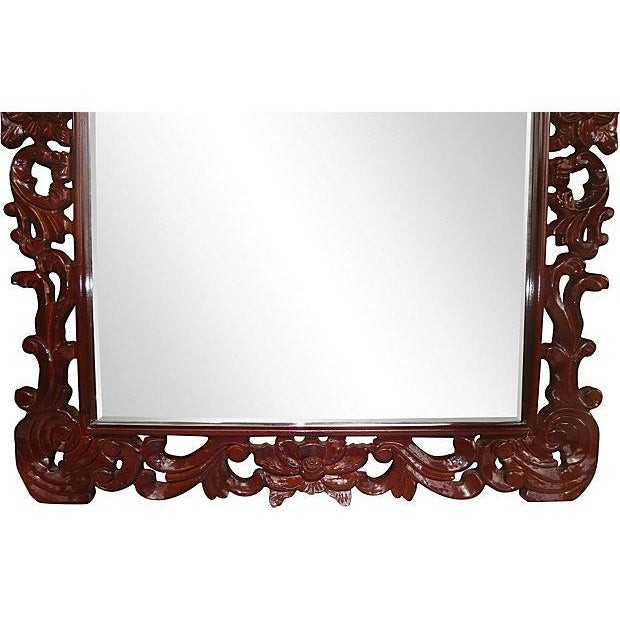 """Hollywood Regency Grand 53"""" Rococo Carved Crest Lacquer Mirror For Sale - Image 3 of 6"""