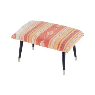 Pasargad Home Bosphorus Collection Pink Kilim Cover Ottoman For Sale