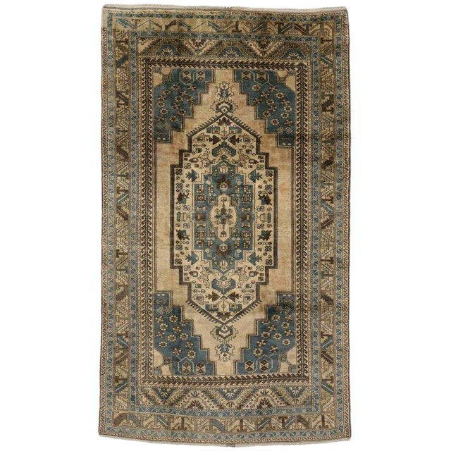 Vintage Turkish Oushak Rug with Tribal Elements - 05'10 X 10'02 For Sale