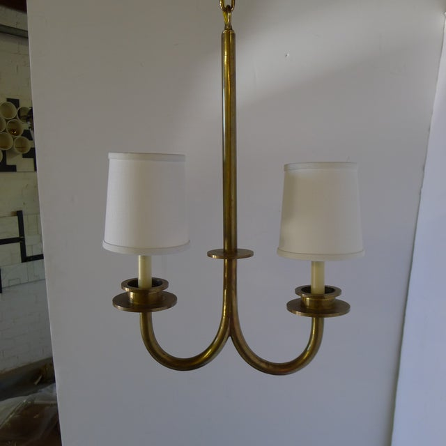 Brass Mid 20th Century Asymmetrical Two-Light Pendant For Sale - Image 8 of 8