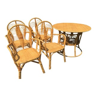 1970s Boho Chic Rattan Patio Dinette Set - 5 Pieces For Sale