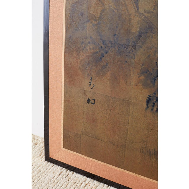 Japanese Four-Panel Screen of Pagoda Bridge Landscape For Sale - Image 10 of 13