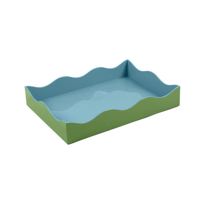 Modern The Lacquer Company for Chairish Belle Rives Tray in Lettuce Green / Bluebird, Large For Sale - Image 3 of 3