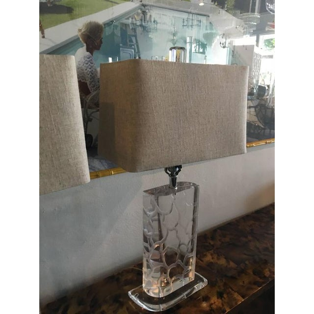 Van Teal Lucite Table Lamps - a Pair - Image 3 of 12