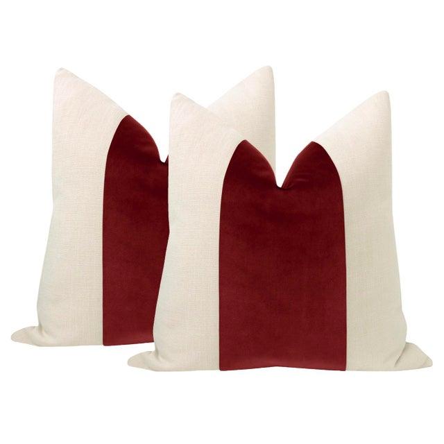"""2010s 22"""" Crimson Velvet Panel & Linen Pillows - a Pair For Sale - Image 5 of 5"""
